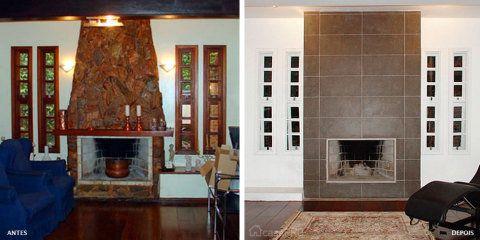 A lareira antiga foi envelopada com dry-wall e recebeu acabamento em porcelanato. Projeto do arquiteto Fábio Dikesch da Silveira.