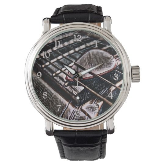 Guitar Strings In Leather Wrist Watch