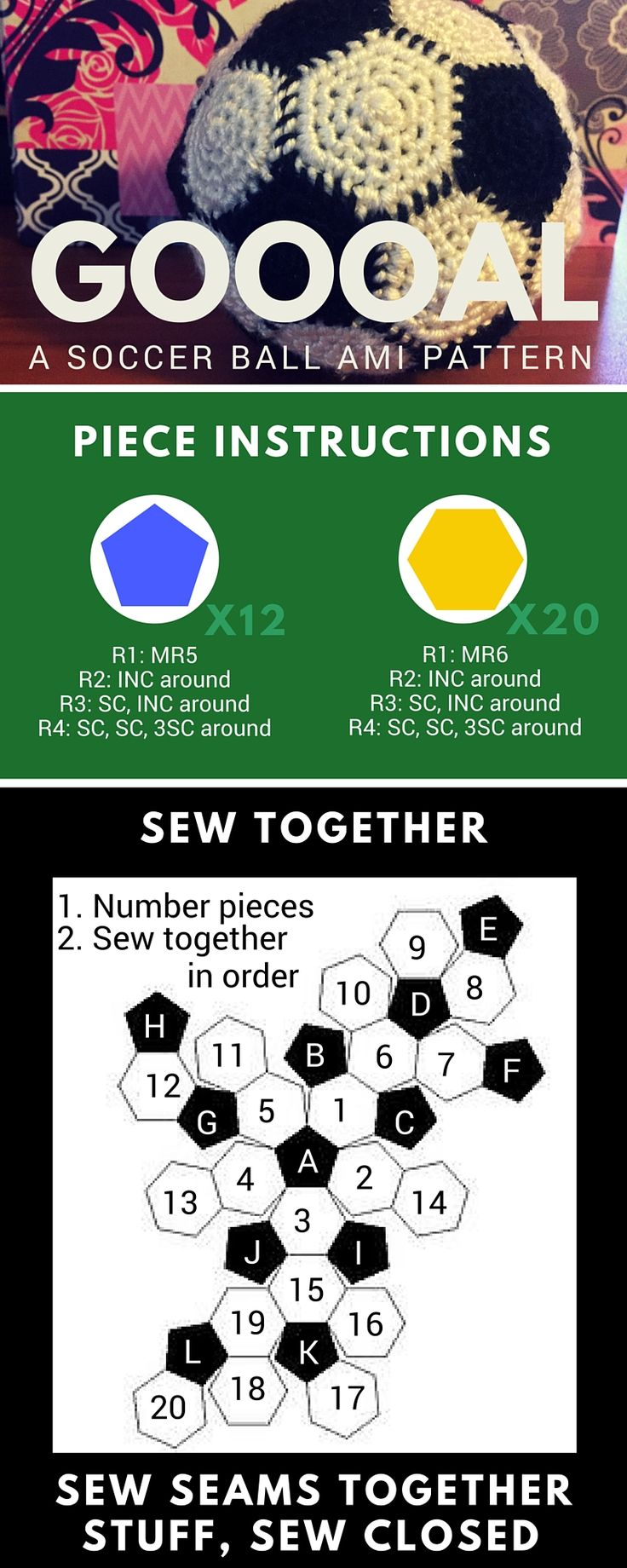 Soccer Ball Amigurumi Pattern Infographic                                                                                                                                                                                 More