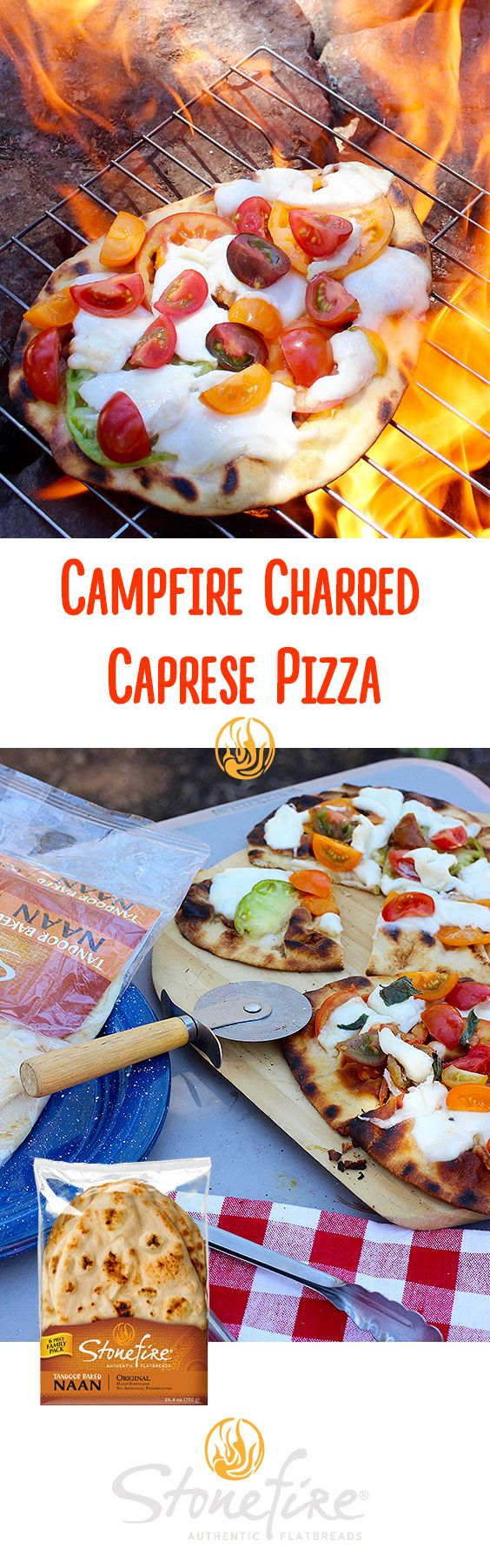 COMBINE oil and balsamic vinegar in a small bowl, brush on both sides of naan,  GRILL the naan on a camping grill bubbly side down until grill marks appear, about 2 min REMOVE and build the naan pizza by brushing the remaining oil and balsamic mixture and then layering on your toppings—sliced heirloom tomatoes, buffalo mozzarella. Finish with a sprinkle of salt and pepper COOK the pizza for an additional 3-5 min until the bottom is golden brown and cheese is melted.   REMOVE from grill…