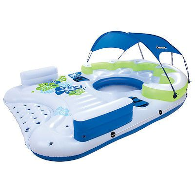 Besway X5 Canopy Island Giant Inflatable 7 Person Floating Raft Lounge