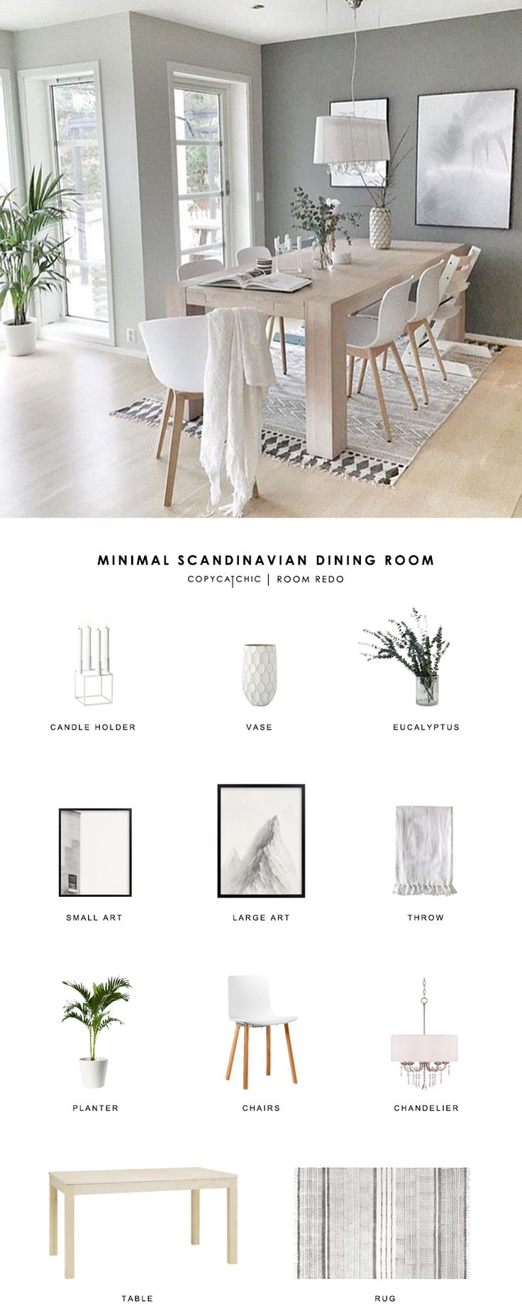 A gray minimalist, Scandinavian dining room gets recreated for less by copycatchic luxe living for less budget home decor & design room redos look for less