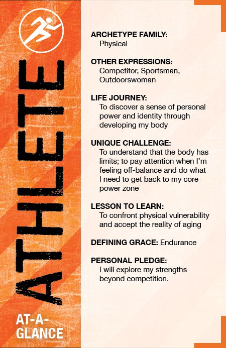 The Athlete Archetype at a Glance - The Athlete is physically-driven. Athletes thrive on anything related to health and body.