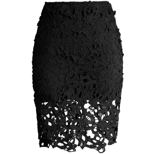 Chicwish Charme Crochet Lace Pencil Skirt in Black ($38) ❤ liked on Polyvore featuring skirts, bottoms, saias, faldas, black, stretch lace skirt, pencil skirt, black pencil skirt, stretchy skirts and lacy skirt