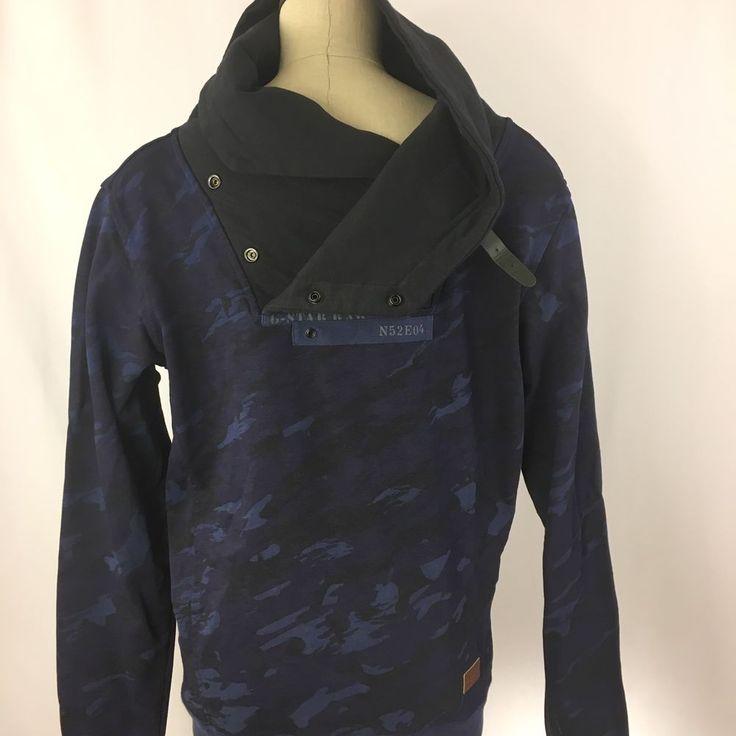 G Star Raw Navy Size L Shawl Collar Sweater Mens Indigo Shirt Pull Over #RawBlue #Henley
