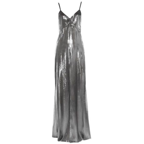 SAINT LAURENT Knotted Shoulder Lingerie Dress In Dark Silver Silk And... (8,360 HKD) ❤ liked on Polyvore featuring dresses, gowns, v-neck dresses, silver dress, v neck gown, silver evening gowns and silver ball gowns