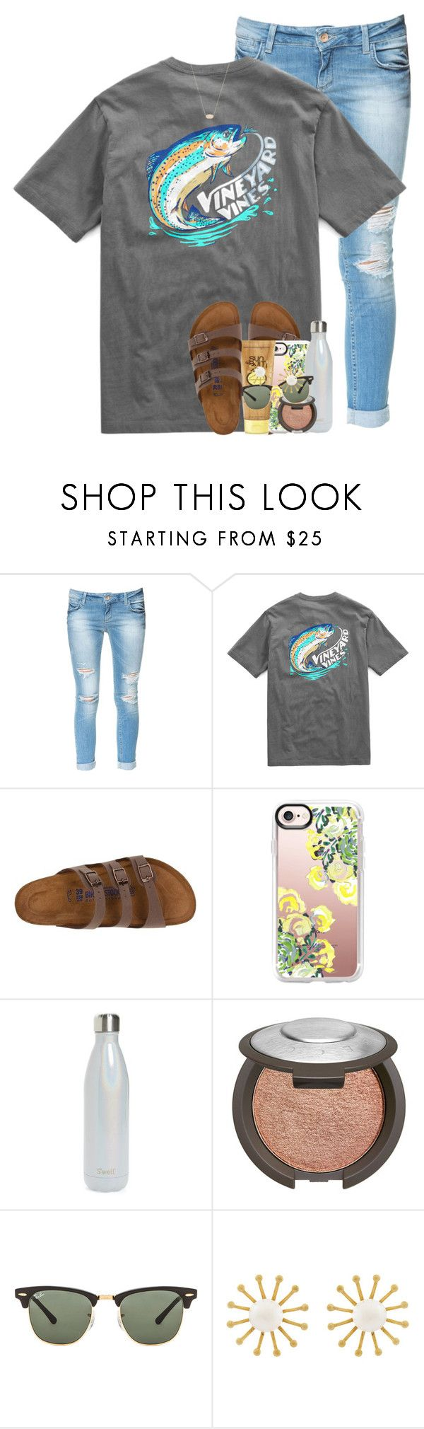 """""""big things are in store for this account!"""" by emilyandella ❤ liked on Polyvore featuring Zara, Birkenstock, Casetify, Sun Bum, S'well, Becca, Ray-Ban, Meg Carter Designs and Kendra Scott"""
