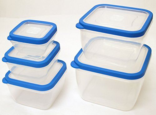 Storage Containers for Portion Control Diet Meal Plans Prep Organization 10 Pcs Set - Pantry Kitchen Counter Top Cabinet Freezer Dog Food Bins - Colors Vary Airtight Portable Nesting by Ideas In Life -- Check out this great product.