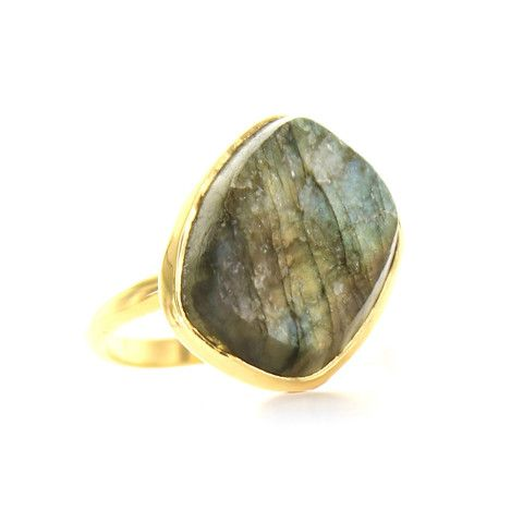 DARING RING - RAW LABRADORITE & GOLD | Buy So Pretty Jewelry Online & In Stores