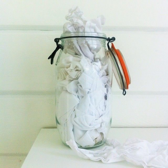 A jar filled with handkerchiefs replaces the box of disposable tissues when we have the sniffles