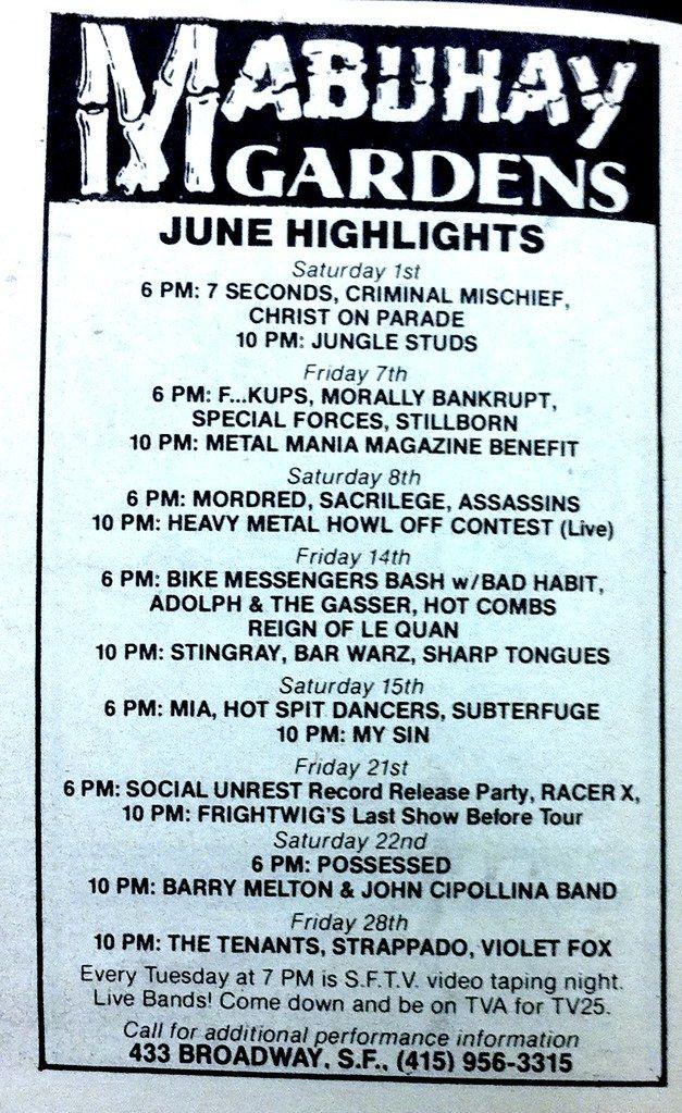 Mabuhay Gardens Concert Calendar Ad June 1985 Concert Calendar