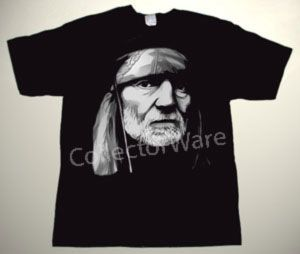 WILLIE NELSON drawing CUSTOM ART UNIQUE T-SHIRT Each T-shirt is individually hand-painted, a true and unique work of art indeed!  To order this, or design your own custom T-shirt, please contact us at info@collectorware.com, or visit http://www.collectorware.com/tees-willie_nelson.htm