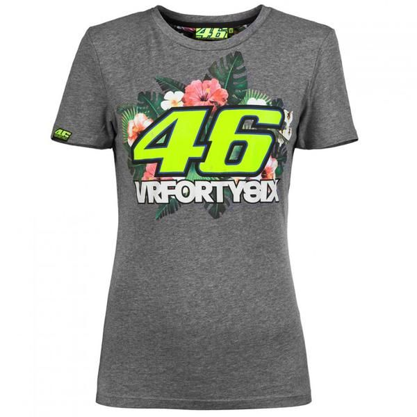 Valentino Rossi VR46 Moto GP Women's Floral T-shirt Grey Official 2016