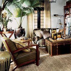 Rustic British Colonial Living Room Part 59