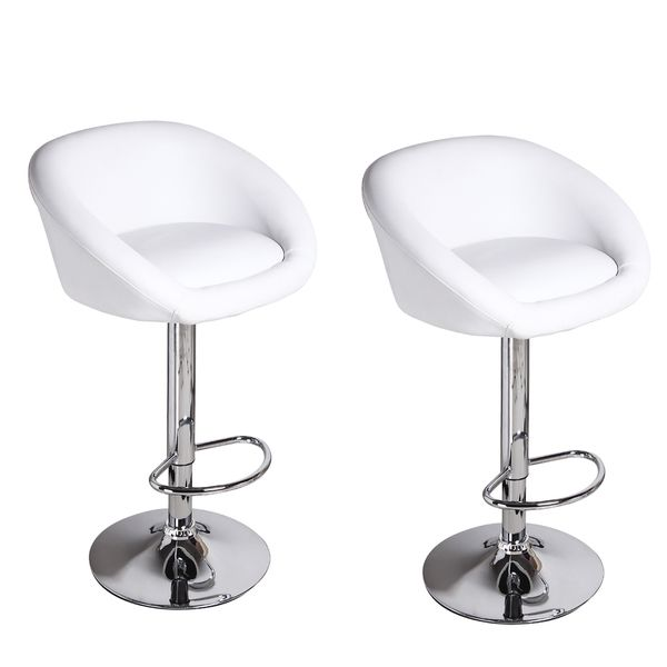 Adeco Low Wrap Back Adjustable Hydraulic Lift White Barstool With Chrome  Pedestal Base (Set Of 2) By Adeco