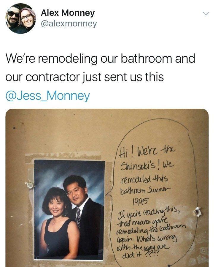 Dieses Paar fand eine versteckte Nachricht von den Vorbesitzern ihres Hauses bei der Renovierung und es ist zu gut