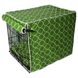 Doggy crate cover--buy ready made or order a DIY kit from mollymutt.com. Several patterns available in 2 sizes.