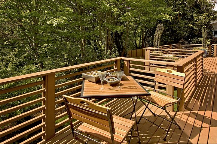 Back Deck With Horizontal Railing Pool And Outdoor
