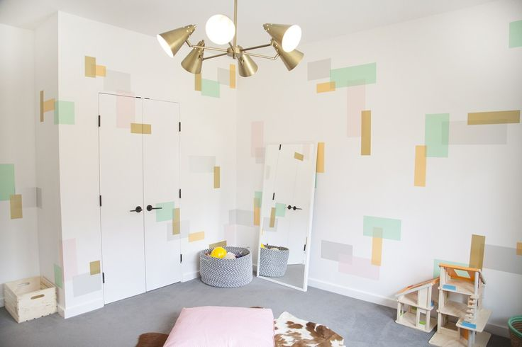 This playroom features a modern, fresh design achieved with - wait for it - washi tape! {Fab design by @playchic} #playroom #washitape: Washi Tape Wall, Modern Playrooms, Baby Rooms, Plays Chic, Contemporary Kids, Playrooms Wall Decor, Kids Rooms, Wall Design, Accent Wall