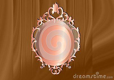Rose Gold Baroque frame. Vector illustration.
