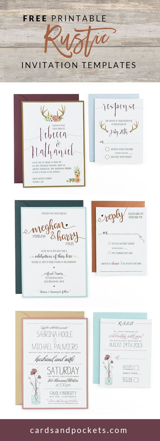 Free Invitation Templates that can be customized and printed to create DIY rustic wedding invitations