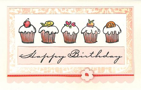 Stamp-it Australia: 4232E Row of Cupcakes, 4317D Birthday Script - Card by Susan