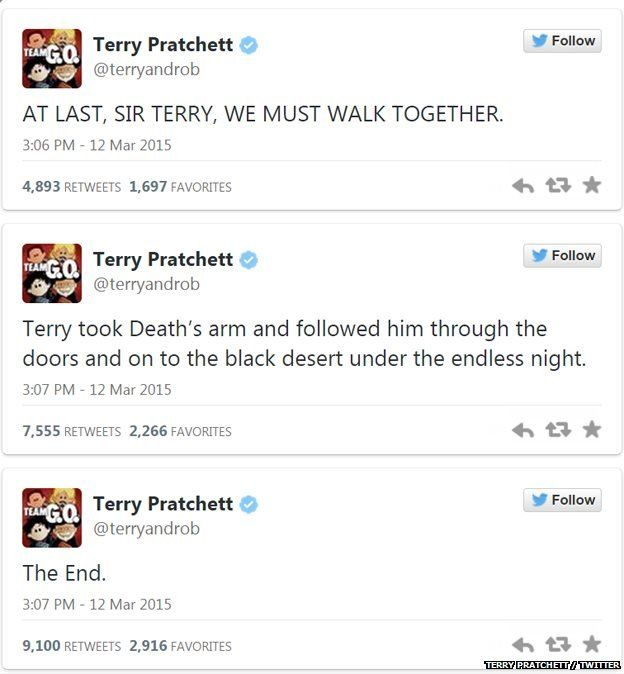 """Terry Pratchett tweets. and I say: """"DEATH is smiling at his companion; but we are soooo sad!!"""""""