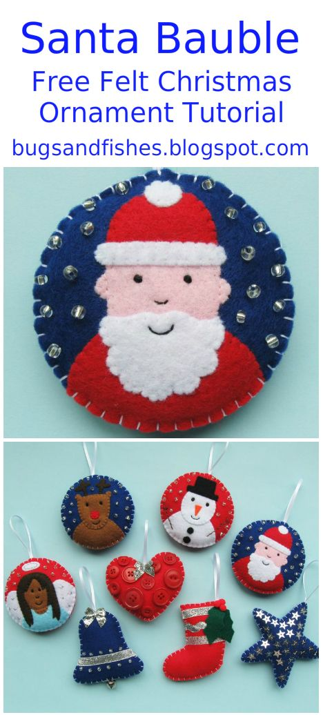 Make a DIY felt Christmas ornament with this cute Santa bauble tutorial
