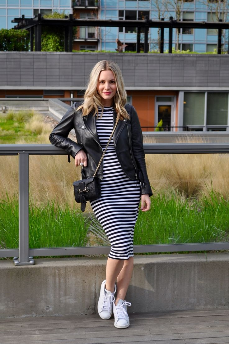 Striped midi dress + leather jacket + Stan Smith sneakers. (Via Confessions of a Product Junkie blog.)
