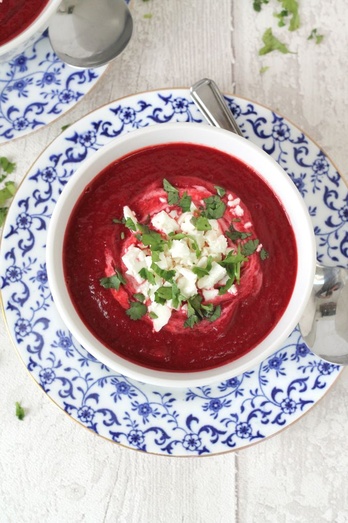 A delicious and healthy warming winter soup. Beetroot and Carrot Soup topped with Feta Cheese