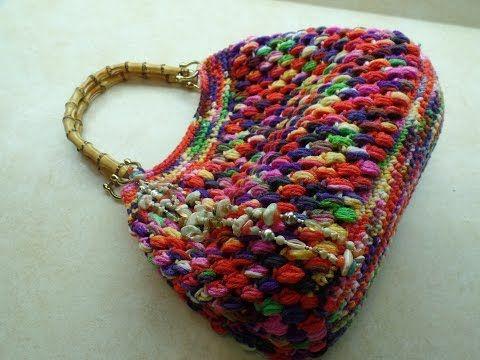 How to #Crochet Puff Bean Stitch Handbag Purse #TUTORIAL #271 - YouTube
