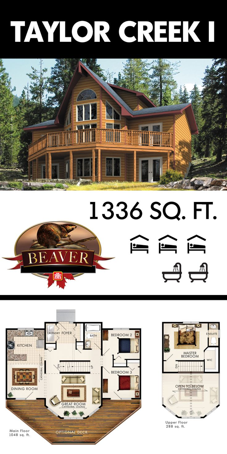 The Taylor Creek I is a two-story cottage designed for a sloping lot with a walkout basement. #BeaverHomesAndCottages