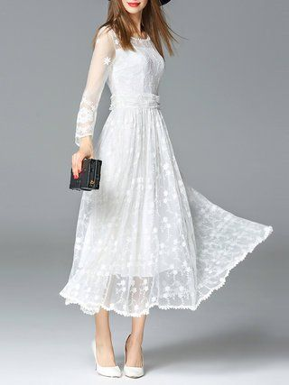 White Floral-embroidered Casual Swing Maxi Dress