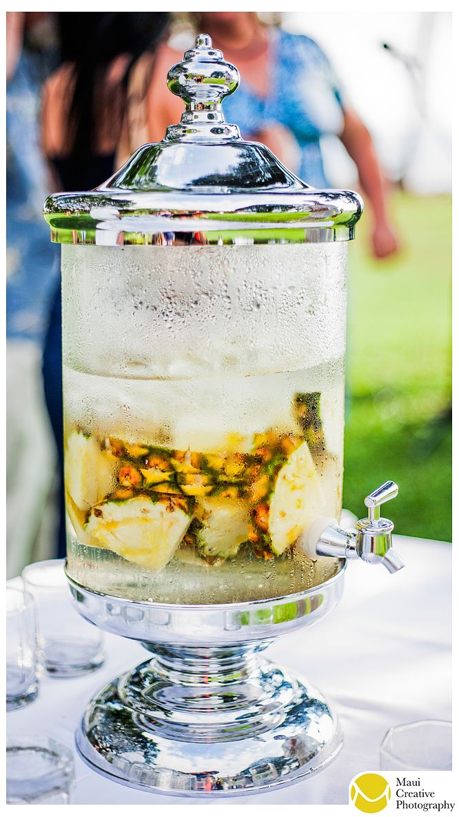 Pineapple infused water tastes amazing!  Perfect way to cool off on a hot day :)  #wedding #ideas #hawaii  Photo by Maui Creative Photography.  www.mauicreativephotography.com