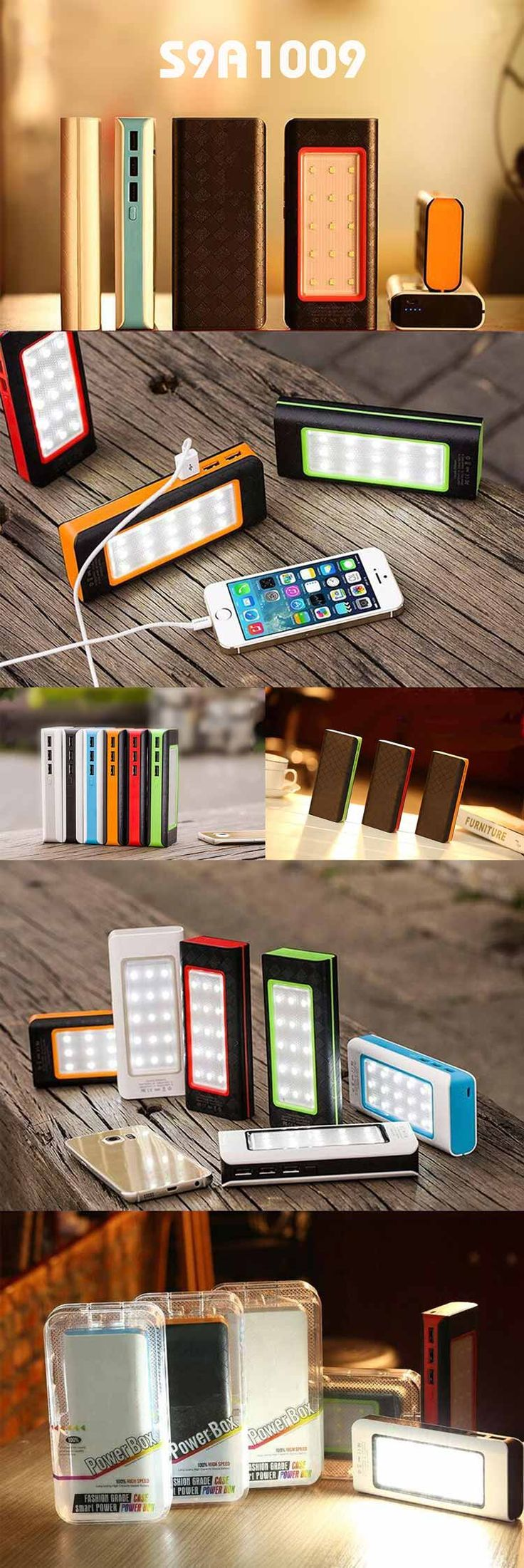 10000mAh Power Bank with Camping Lamp  Description:  1. Could be used as a camping lamp with 15 high-brightness Leds 2. Could charge three devices at the same time with 3 USB ports 3. Input: 5V/1A 4. Output: 5V/2A 5. Capacity: 10000mAh 6. Material: ABS 7. Size: 14*6.2*2.5cm www.ideagroupigm.com