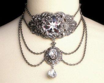 RAS de cou argent cristal Swarovski Collier ras de cou clair cristal RAS de cou mariage bijoux mariée RAS de cou victorien gothique déclaration RAS de cou