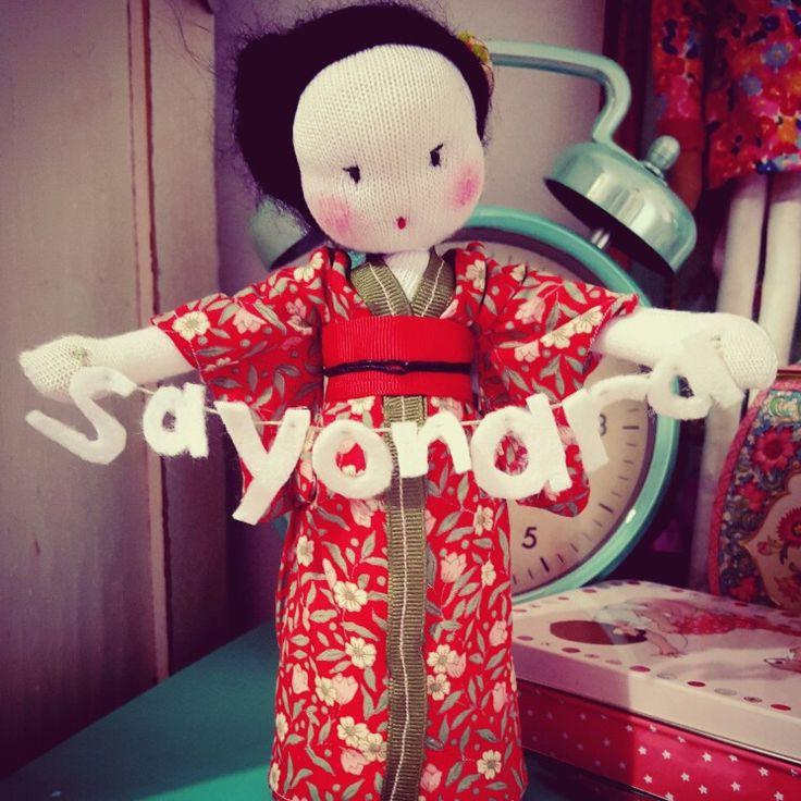 Handmade geisha goodbye doll. By Woolly Doll Worx