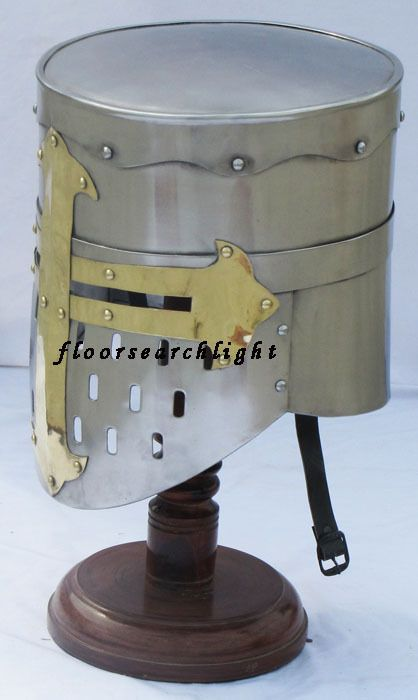 MEDIEVAL KNIGHT TEMPLAR CRUSADER ARMOUR HELMET W/ STAND RE-ENACTMENT LARP HELM