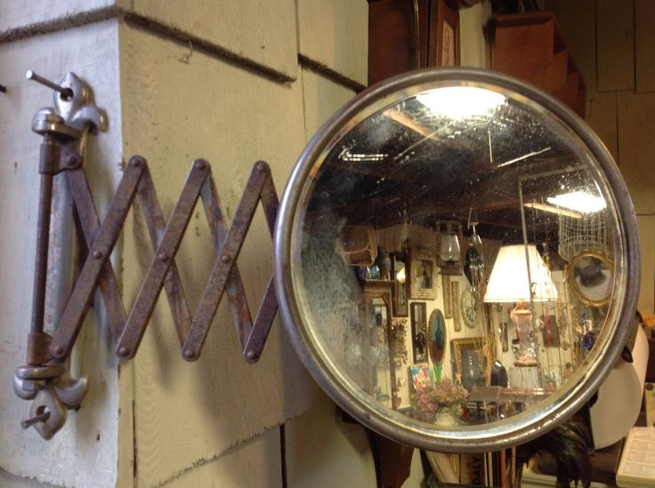 Vintage shaving Mirror, wall mount, bath mirror, makeup mirror, beveled glass, extendable, accordion, scissor style by willowcreekinteriors on Etsy