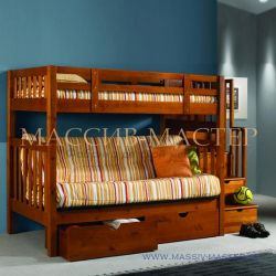 Двухъярусная кровать-диван. Удобный раскладной диван на нижнем ярусе
