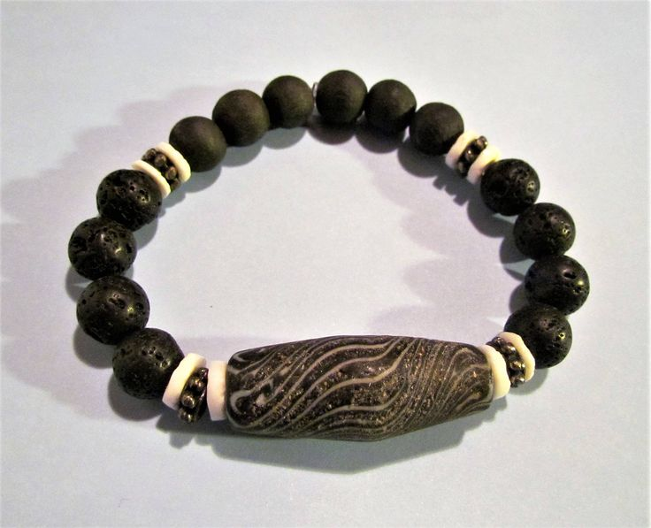 Mens / Unisex Quality Gemstone & Lava Bracelet, Essential Oil Diffuser. by MoirasJewelleryBox on Etsy
