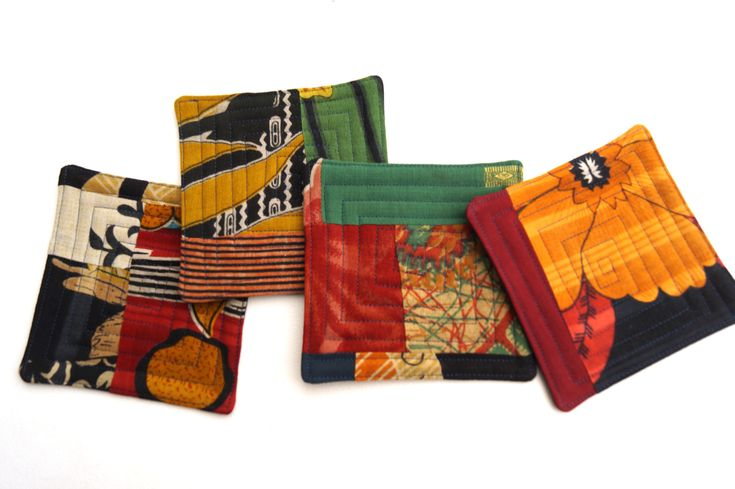 Colorful Cloth Coasters in Sari Fabric Quilted Patchwork, Upcycled Kantha Blanket Scrap Drink Ware by MyBitOfWonder on Etsy https://www.etsy.com/listing/251682037/colorful-cloth-coasters-in-sari-fabric