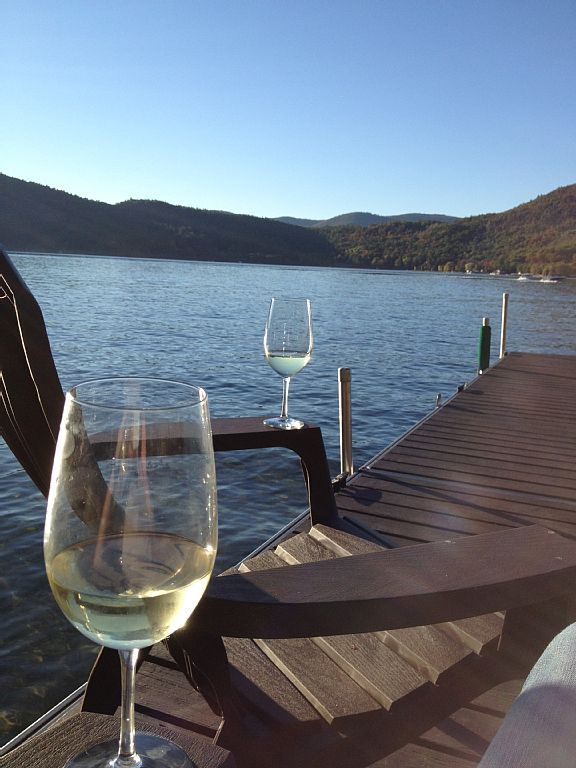 Sitting on the dock is always a little more enjoyable with wine!