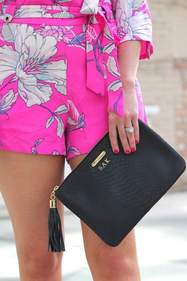 PINK ROMPER - GOLD COAST GIRL fashion, women's fashion, street style, blog, chicago, style, summer fashion, romper, pink, tory burch, gigi new york