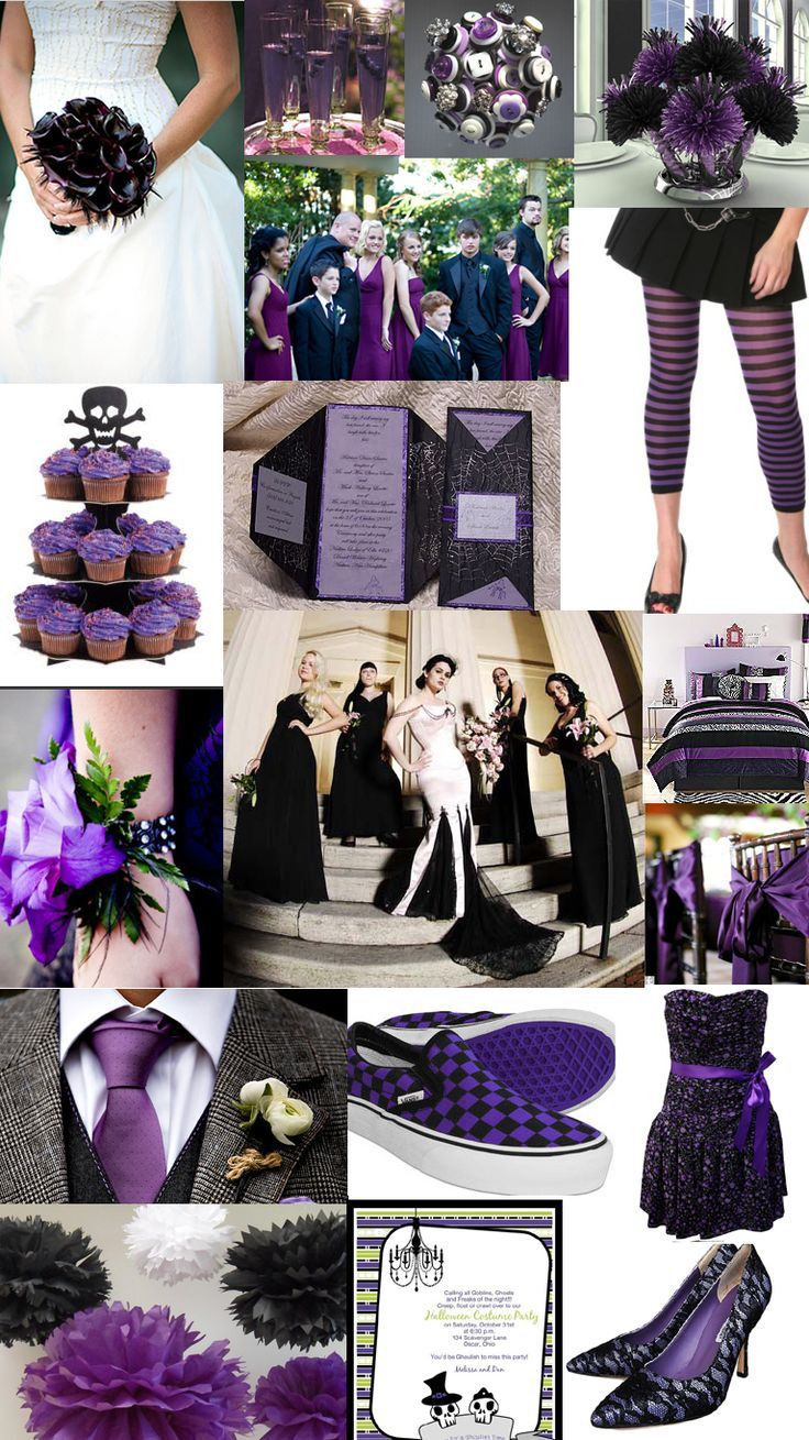 Halloween wedding theme  purple and black cupcake  white bride bridal dress gown w black bouquet bridesmaid shoes leggings corsage tie invite  vans