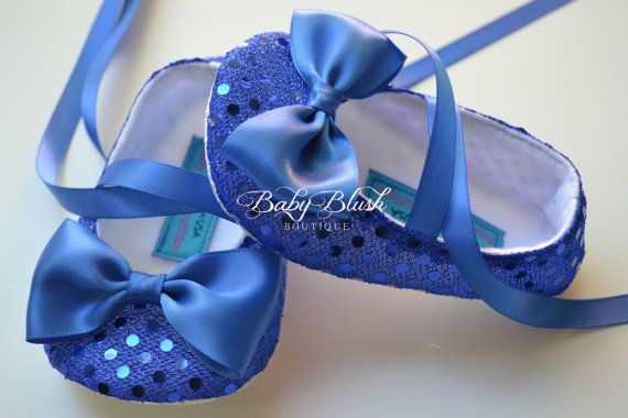 Royal Blue Sequin Baby Shoes Baby Ballerina by babyblushboutique, $23.00 BRENTLEY!!!!!