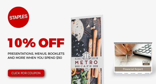 10% off, Presentations, Menus, Booklets and more when you spend $50
