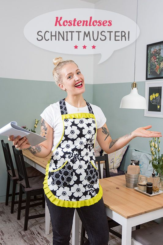 Schnittmuster & Anleitung - Backschürze mit Taschen und Rüschen selber nähen - Freebook by pattydoo & Handmadekultur
