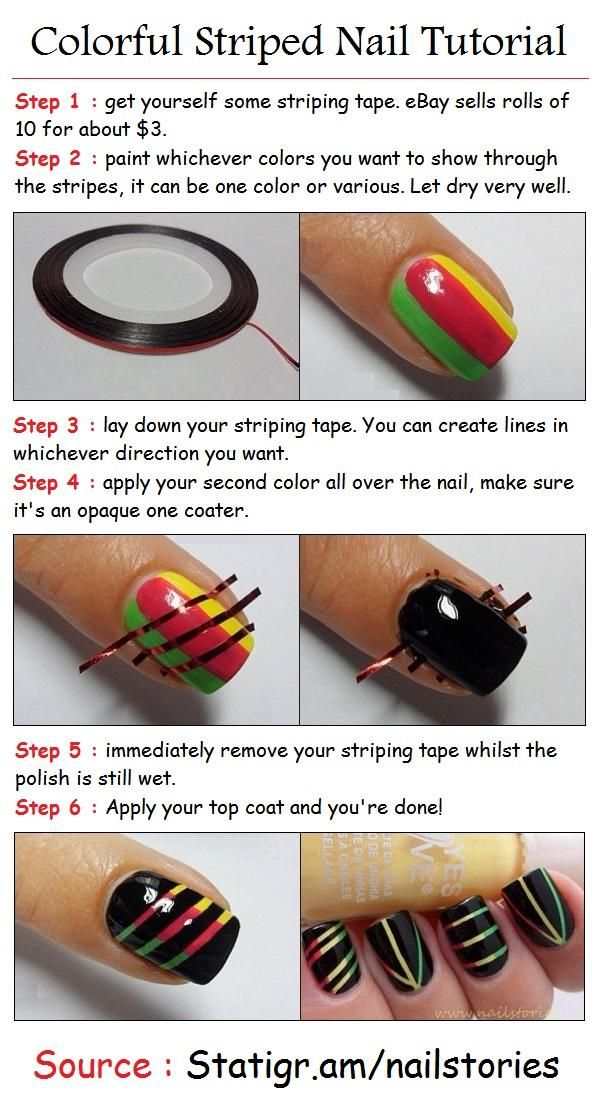 Colorful Striped Nail Tutorial. They did a good job at explaining that now I just need striping tape