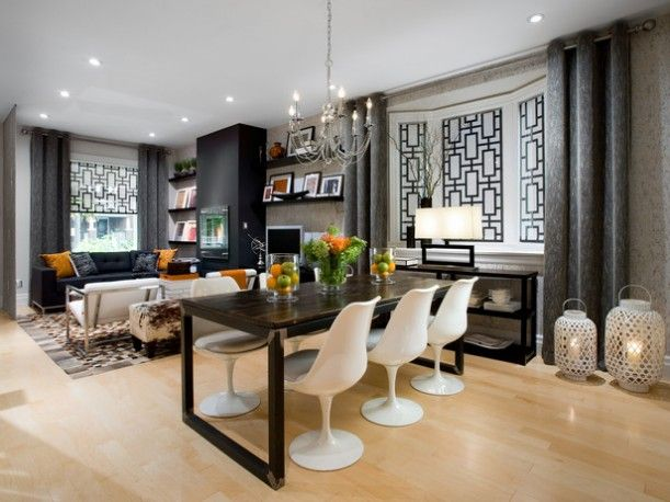 Candice Olson Great Room - love the graphic print on the alcove wall!